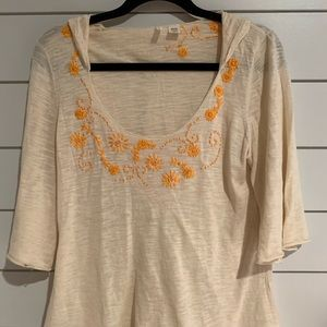 Anthropologie Embroidered Hoody Sweater